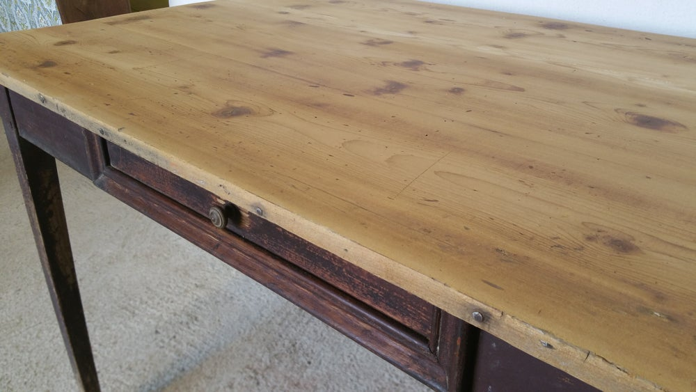 Image of Table de ferme patine naturele