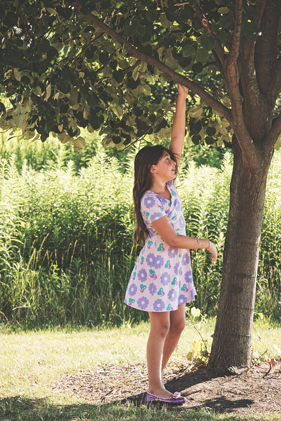 "Image of  ""Aniya"" stretch fit and flare 80s floral t-shirt  dress (little girls, big girls)"