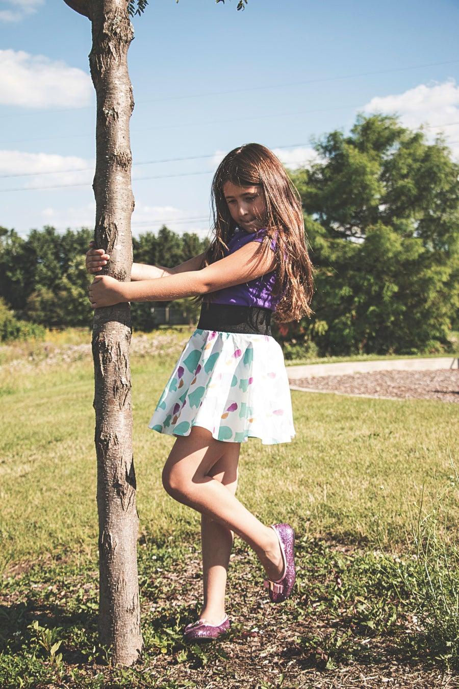 "Image of ""Maliya"" heart print cotton circle skirt (little girls, big girls)"