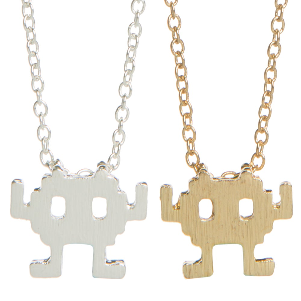 Image of Space Invader Charm Necklace