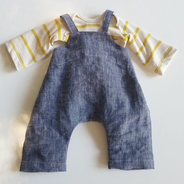 "Image of Plover Overalls for 14"" - 17"" Dolls with Loden Shirt"