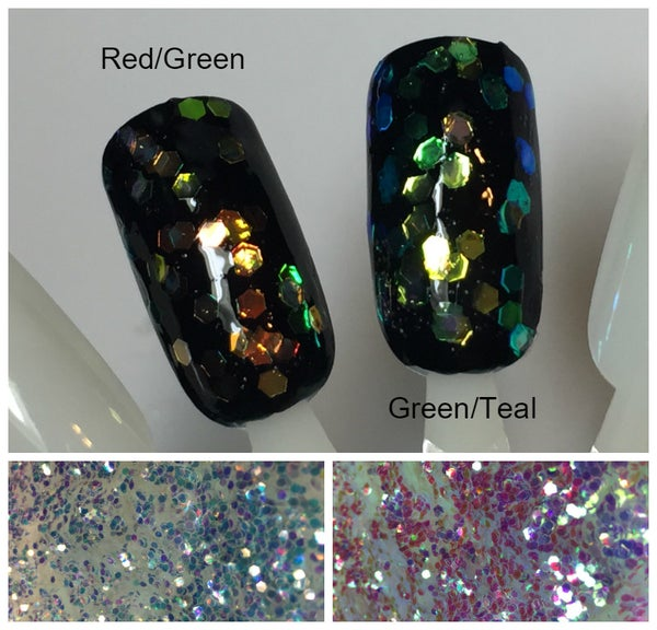 """Image of Iridescent Color-Shift Hex Glitter .060"""""""