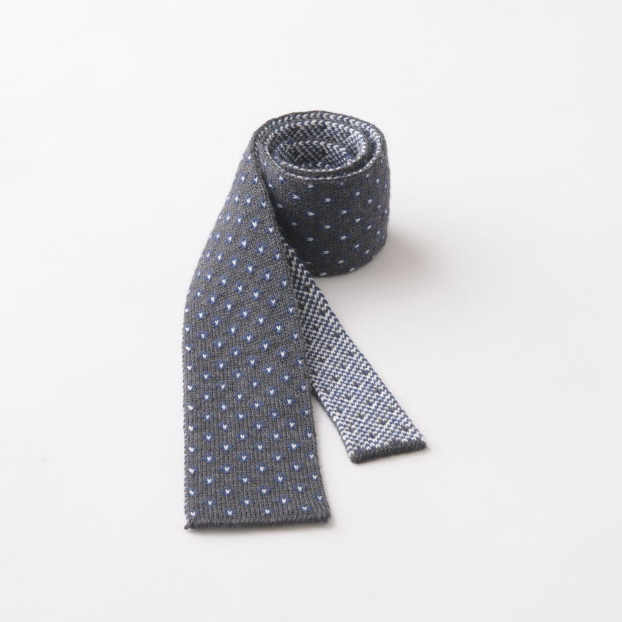 Image of Flee Dots Tie in Charcoal x Blue