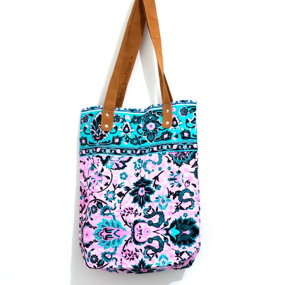 Image of Aqua and Pink Boho Bag