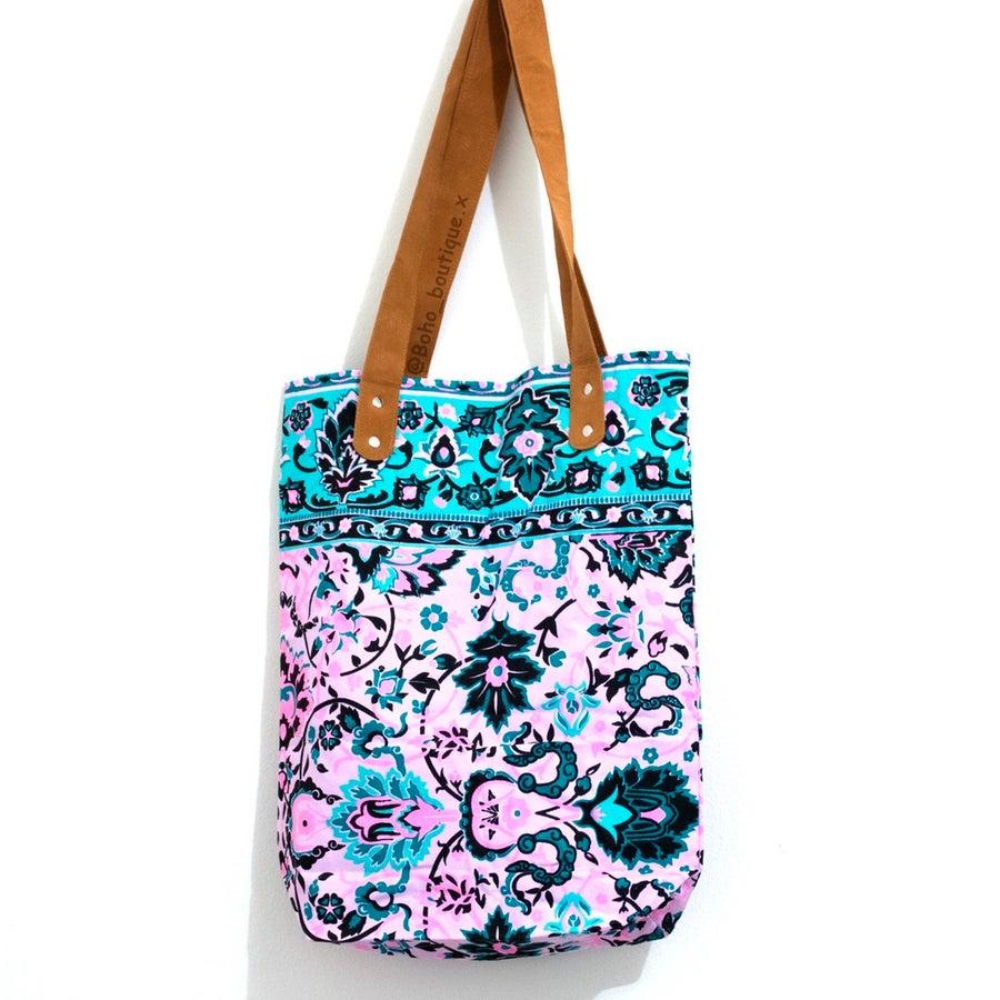 Image of Aqua and Pink Boho Bag