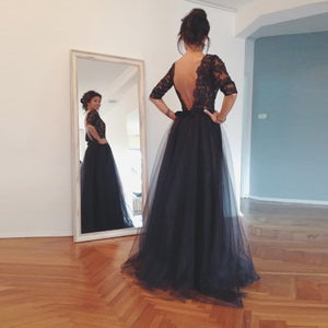 Image of 2015 Tulle Black 3/4 Sleeves Evening Dress With Lace Appliques