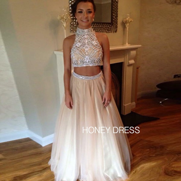 Image of Nude Tulle High Neck Beaded Top Two Piece Evening Dress With Keyhole Back