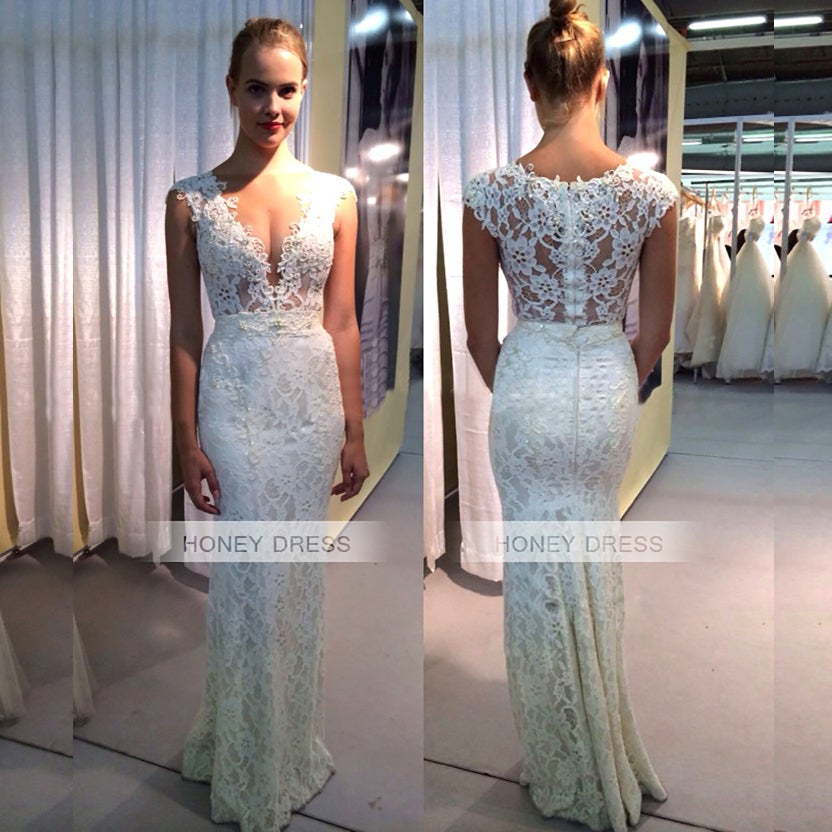 Image of 2016 Ivory Lace V-Neck Mermaid Prom Party Dress With Beaded