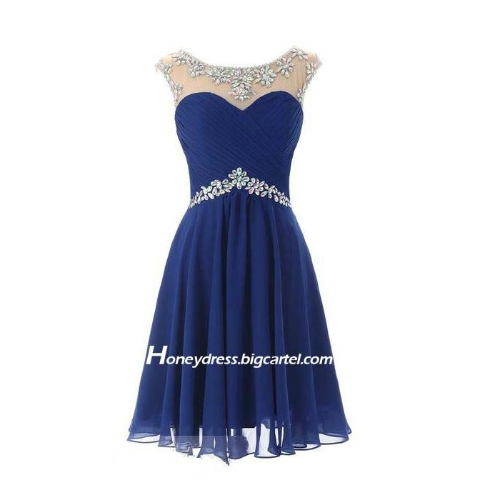 Image of Purple Chiffon Illusion Sweetheart Short Prom Dress With Crystals