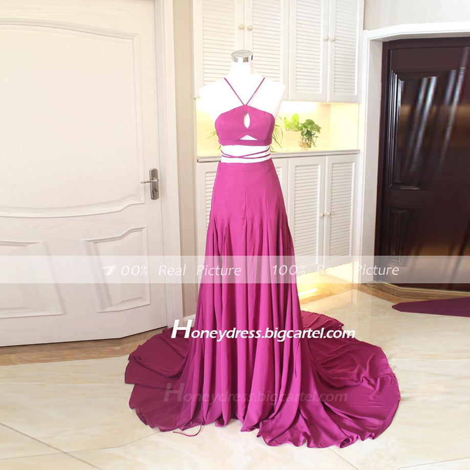 Image of 2015 New Arrival Silk Chiffon Purple A Line Halt Long Prom Dresses
