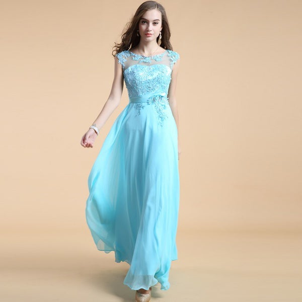 Image of Ice Blue Chiffon Cap Sleeves Prom Dress With Lace Appliques Bodice