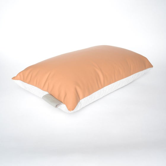 Image of Leather Tab cushion Cover - Tan Lumbar
