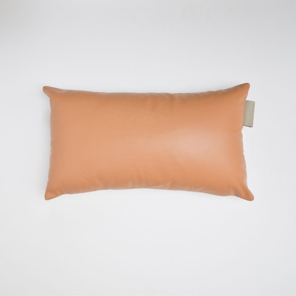 Image of Leather Tab cushion Cover - Tan Rectangular