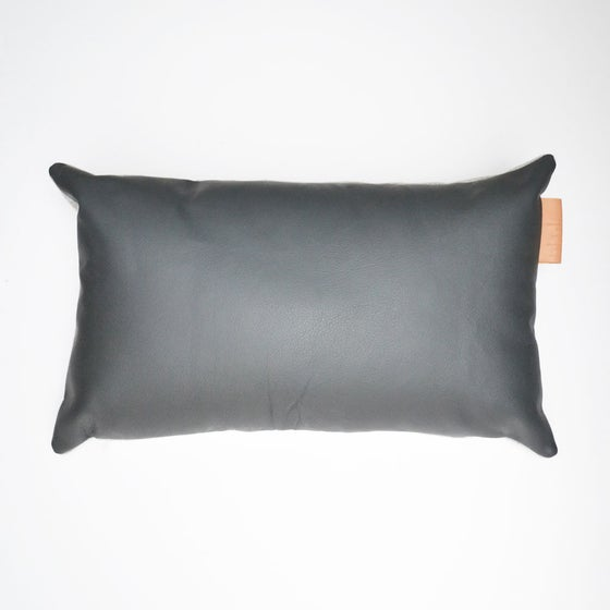 Image of Leather Tab Cushion Cover - Grey Rectangular