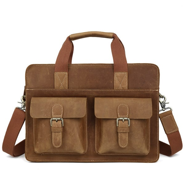 "Image of Vintage Handmade Crazy Horse Leather Briefcase / Satchel / 11"" 13"" MacBook 12"" 13"" Laptop Bag (n07B)"