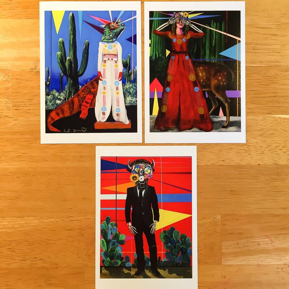 "Image of ""Desert Stories I, II & III"" Giclee Fine Art Print Set 5""x7"""