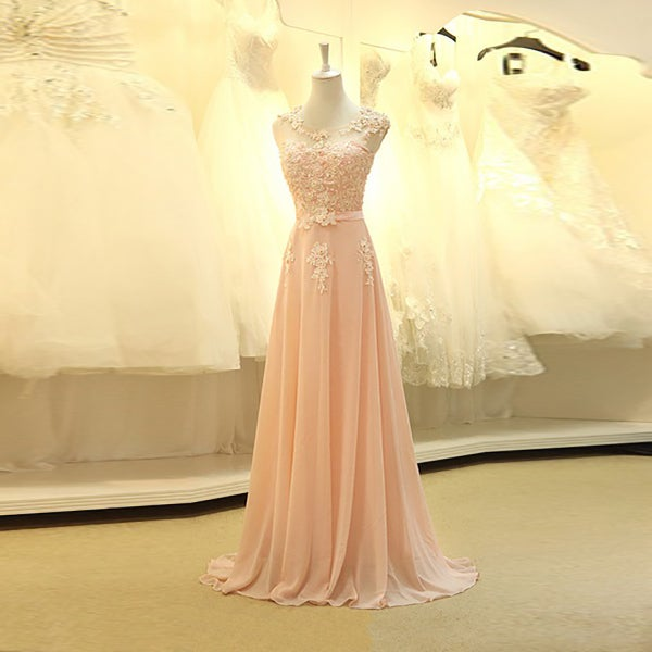 Image of Pink Chiffon Floor Length Prom Dress With Lace Appliques