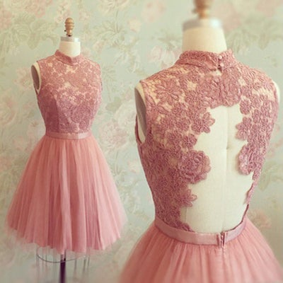 Image of Rose Pink Tulle High Neck Cocktail Dress With Lace Appliques