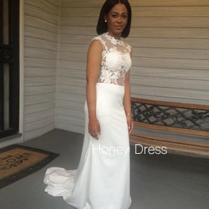 Image of Ivory Satin Mermaid Bridal Gown With Sheer Lace Appliques Bodice