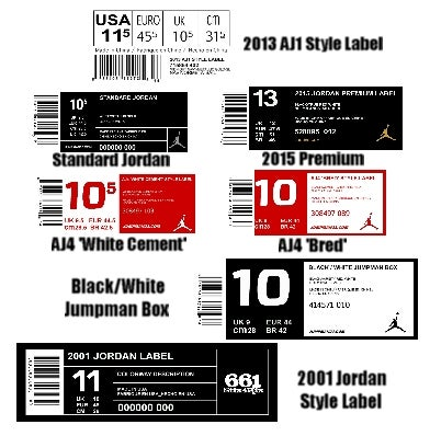 Jordan Shoe Box Labels