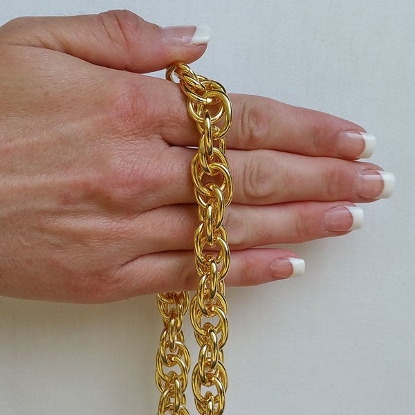 "Image of GOLD Chain Luxury Strap - Prince of Wales Chain - 1/2"" (14mm) Wide - Your Choice of Length & Hooks"