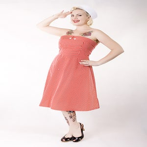 Image of 'Lucky Diamonds' dress - Red and White Stripe Nautical