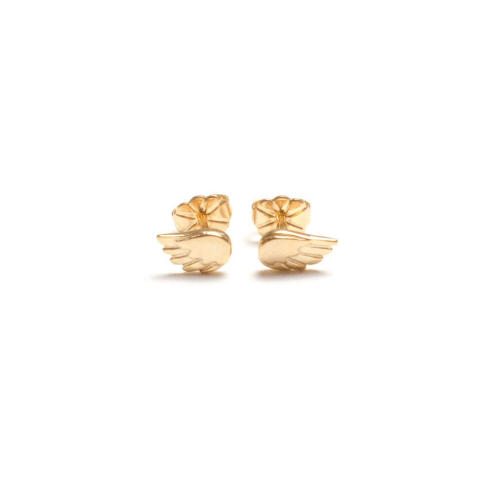 Image of Dainty Angel Wing Stud Earrings - Yellow Gold