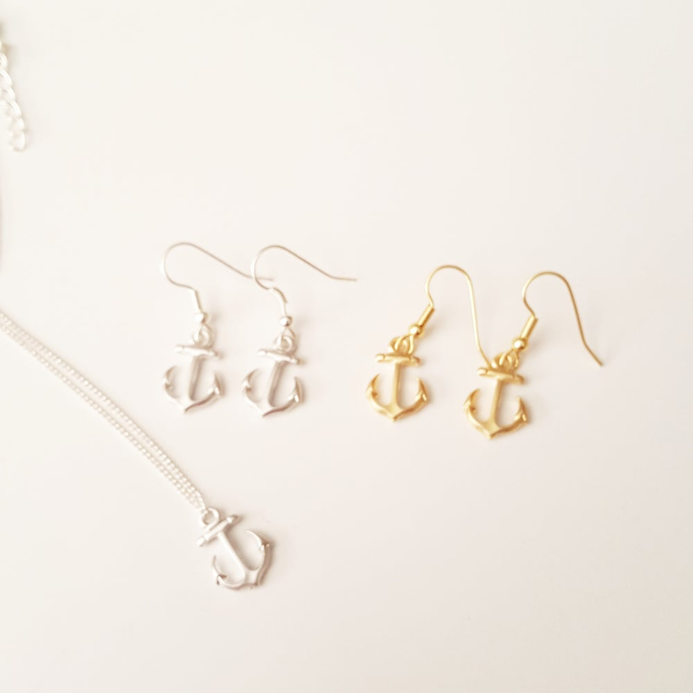 Image of $10. gold or silver anchor necklace or earrings