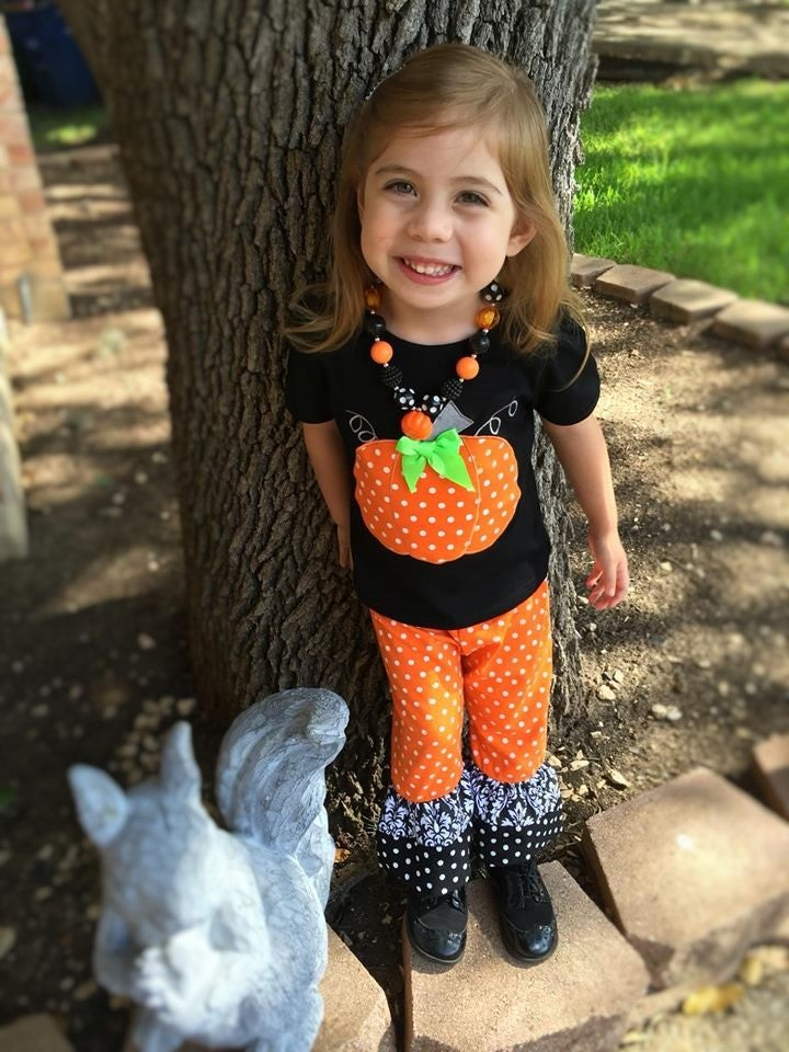 Image of Orange Polka Dot Pumpkin Ruffle Pant Set, Baby Toddler Girl, Halloween, Fall, Photos