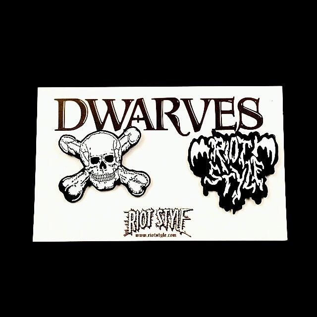 Image of ☠🍆 The Dwarves / Riot Style - Metal / Enamel Lapel Pin Set