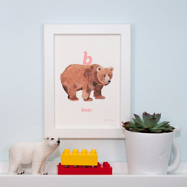Image of B - Bear Letter Print