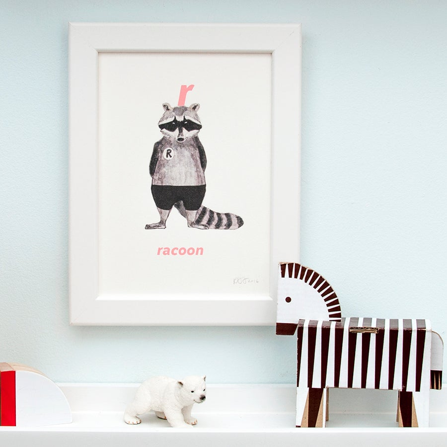 Image of R - Racoon Letter Print