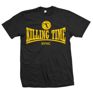 "Image of KILLING TIME ""NYHC"" Gold Ink on Black T-Shirt"