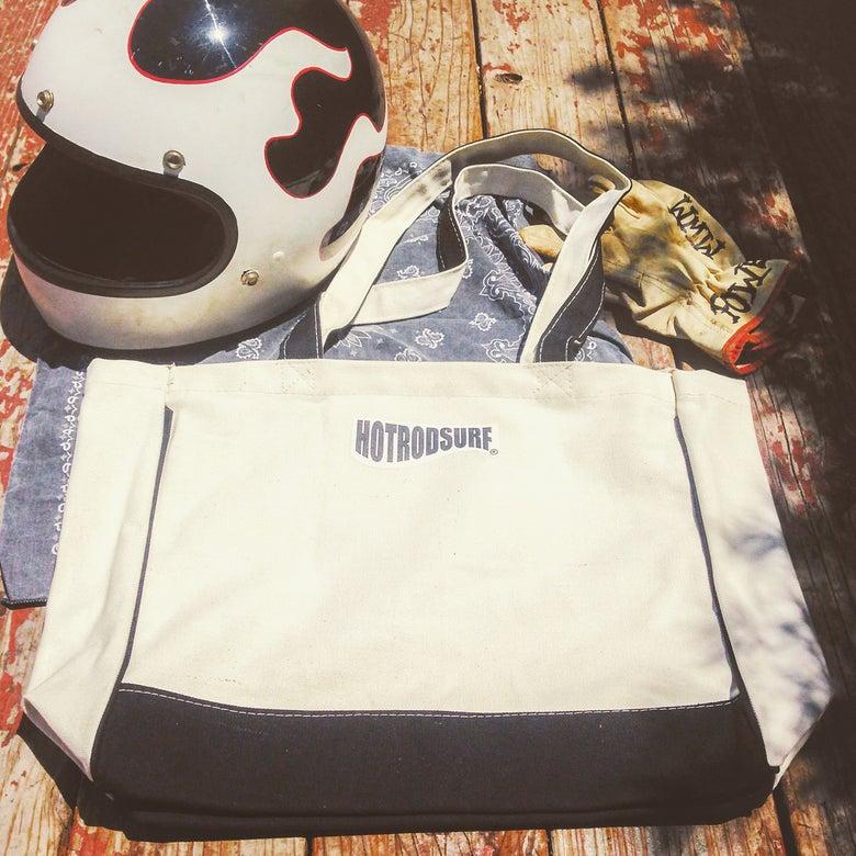 Image of Wave Logo Beach Bag ~ HOTRODSURF ® ~ Hot Rod Surf - canvas