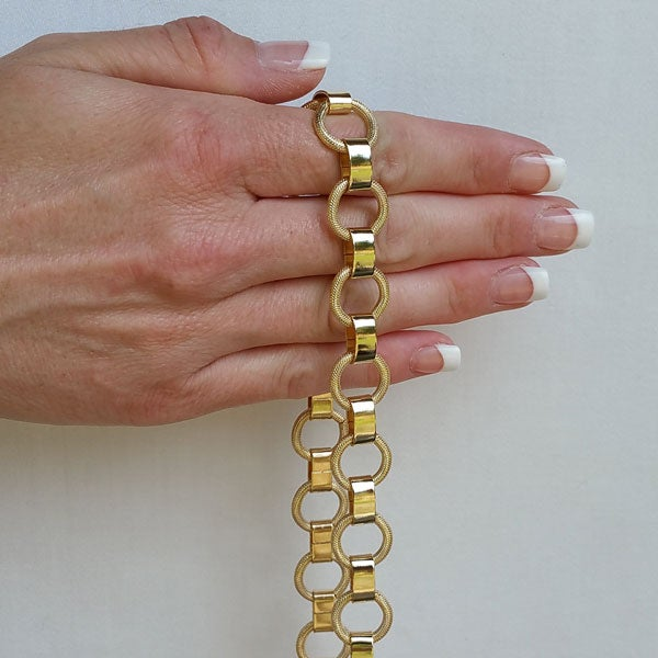 "Image of GOLD Chain Purse Strap - Elegant Textured Ring Chain - 5/8"" Wide - Choice of Length & Hooks"