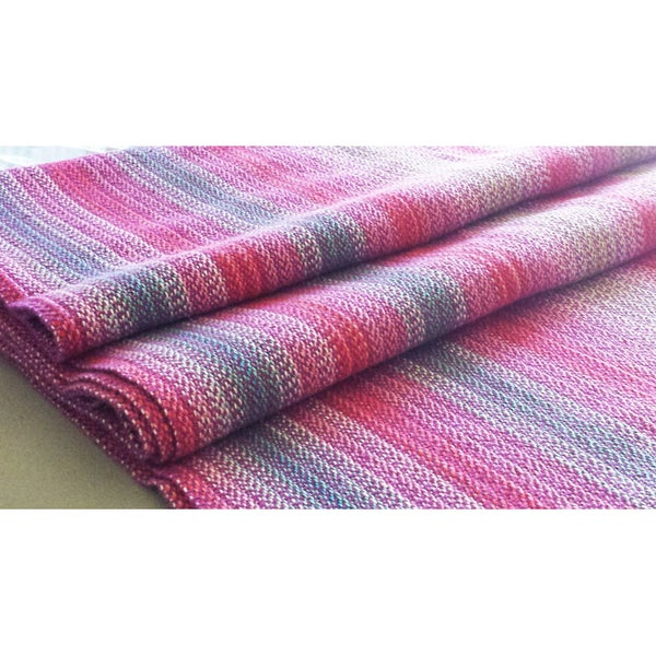 Image of Baby-Wearing Wrap US 6 - Pinks Raspberry Turquoise Aqua and White, Cotton/Linen Blend / Handwoven