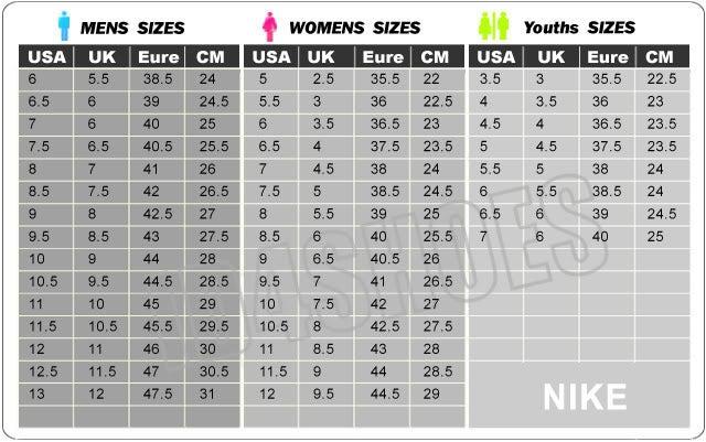 Big Kids Basketball Shoe Size Chart Us Womens
