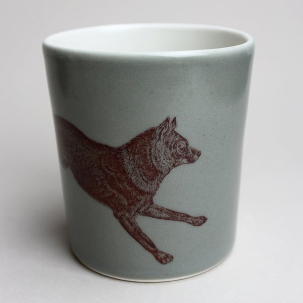Image of 14oz tumbler with wolf, sage