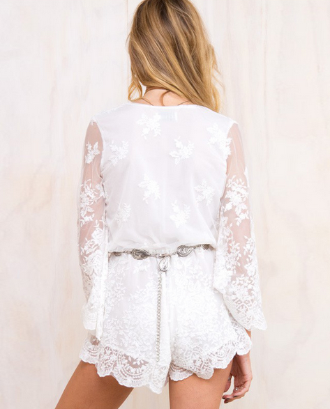 Image of FASHION PERSPECTIVE LONG SLEEVE LACE ROMPER PLAYSUIT
