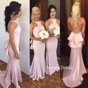 Image of High Neck Pink Mermaid Bridesmaid Dress,Open Back Sweep Train Bridesmaid Dress