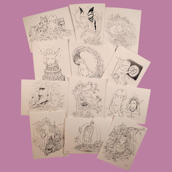 Image of TWENTY FOUR HOUR WOMAN Greeting Cards • series 2 •