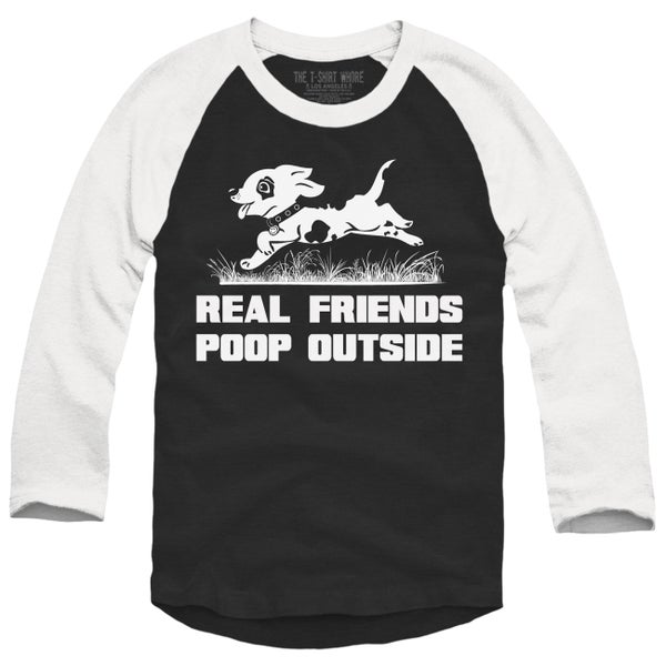Image of Real Friends Poop Outside Baseball Raglan