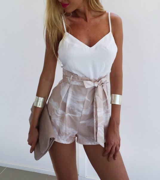 Image of White halter bralet fresh shorts two piece set printing belt