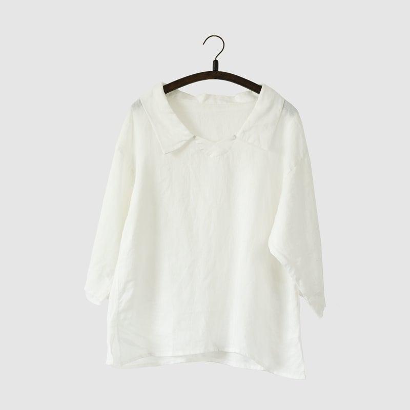 White Linen T Shirt Women Tops Lr703 Clothingshow