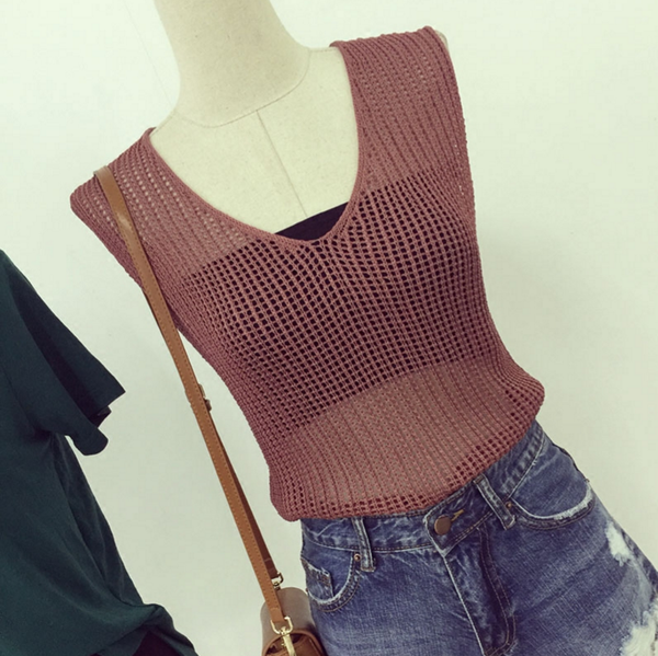 Image of Women's summer 2016 new wave of street V-neck halter cross strap machine carefully knit vest tops