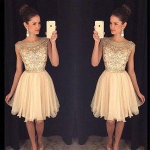 Image of Beading Illusion Homecoming Dress, V Back Crystal Cocktail Dress, Jewel Embellished Sheer Bodice