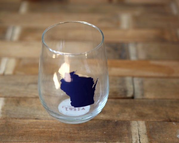 Image of Stemless Wine Glass With WI symbol