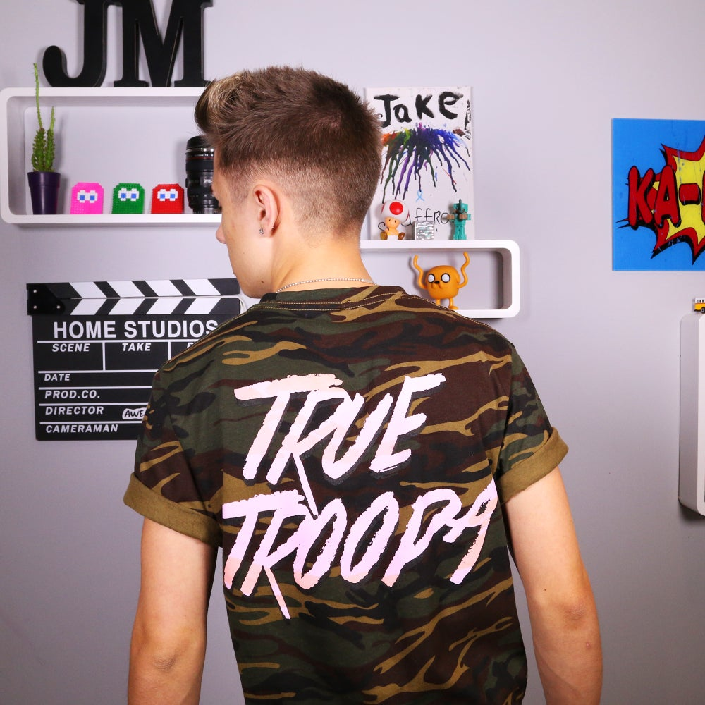 "Image of ""True Troopa"" Camo Tee with Back Print."
