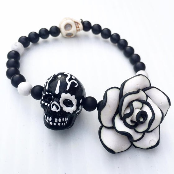 Image of Hand Painted Howlite Skull with Black Onyx