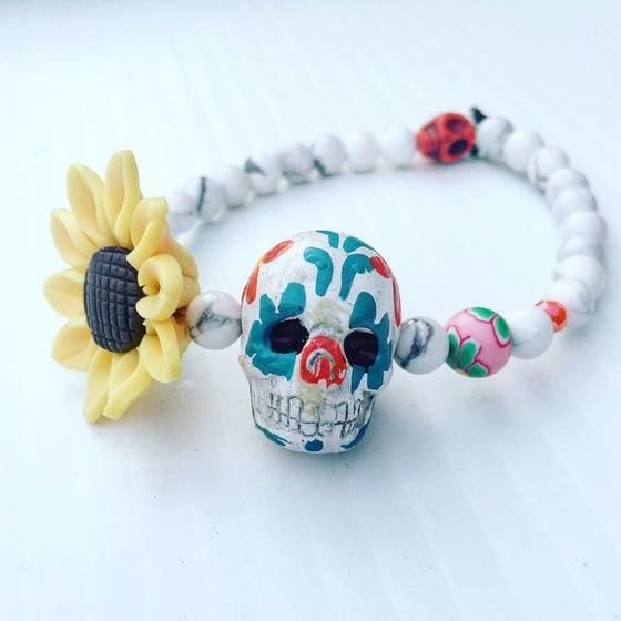 Image of Dia de los Muertos Hand Painted Howlite Skull and howlite beads